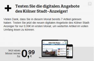 Paywall des Kölner Stadt-Anzeigers (Screenshot)