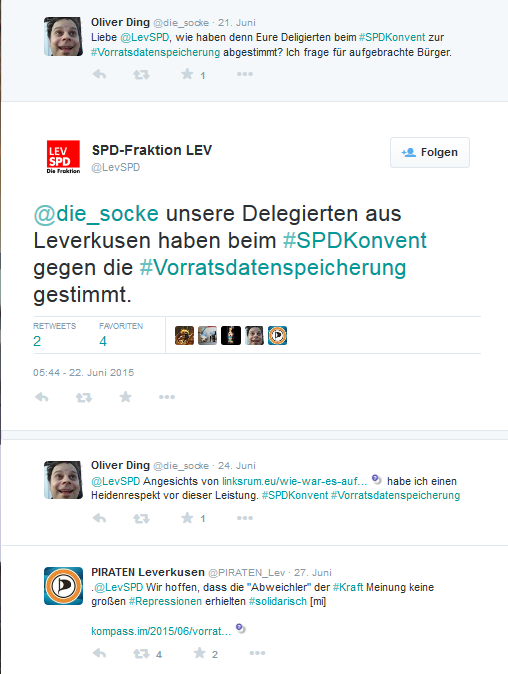 Antwort der Leverkusener SPD auf die Nachfrage eines unserer Piraten zur Abstimmung ihrer Delegierten auf dem Parteikonvent zum Thema #Vorratsdatenspeicherung