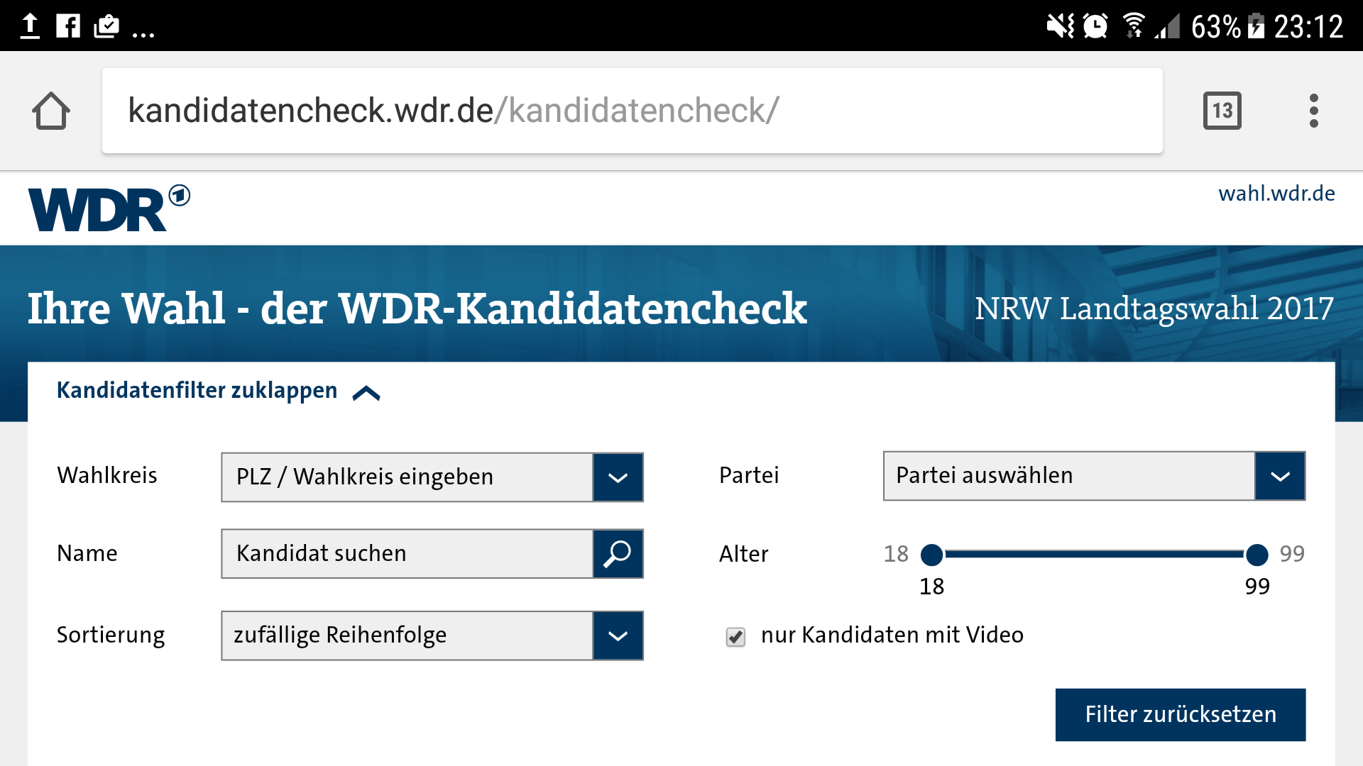 Screenshot des WDR-Kandidatenchecks