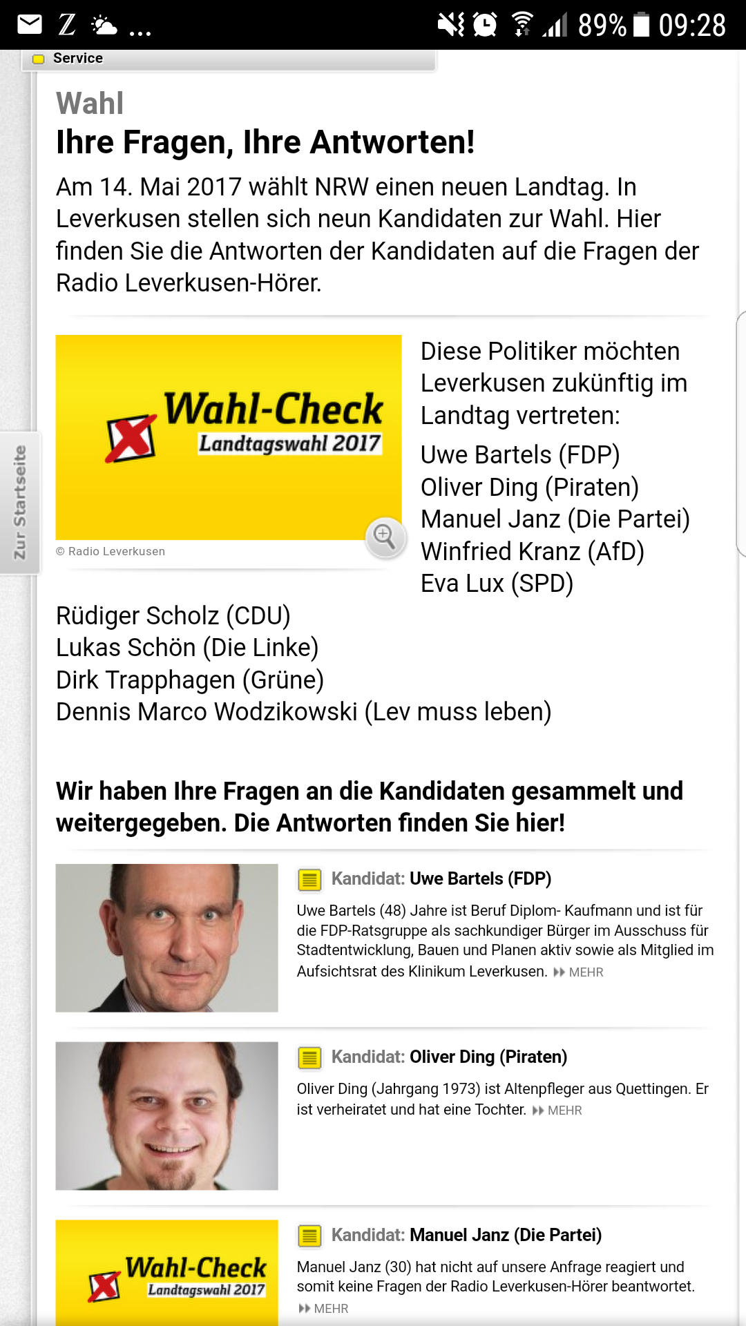 Screenshot von Radio Leverkusen