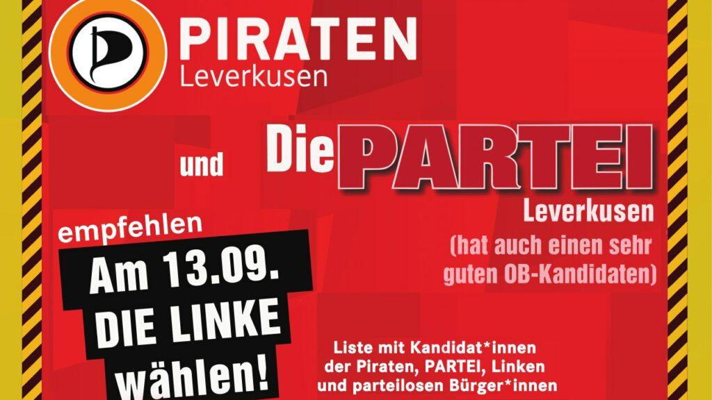 PARTEI und PIRATEN empfehlen, am 13.9. LINKE wählen